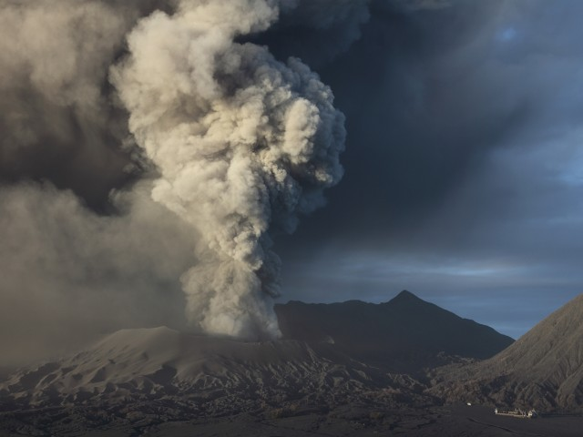 Eruption of ash cloud from Mount Bromo