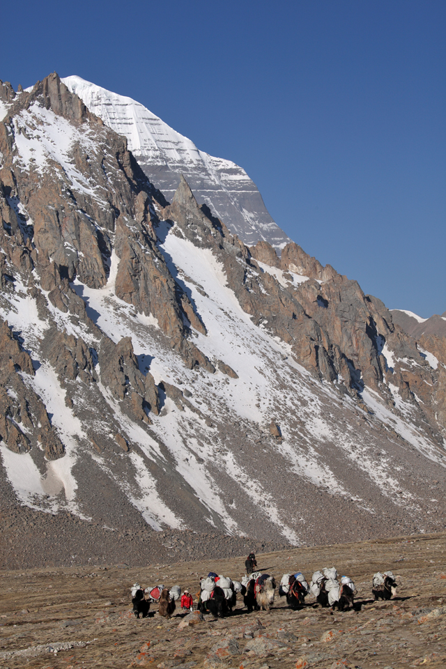 Stupas, with the north face of Mount Kailash