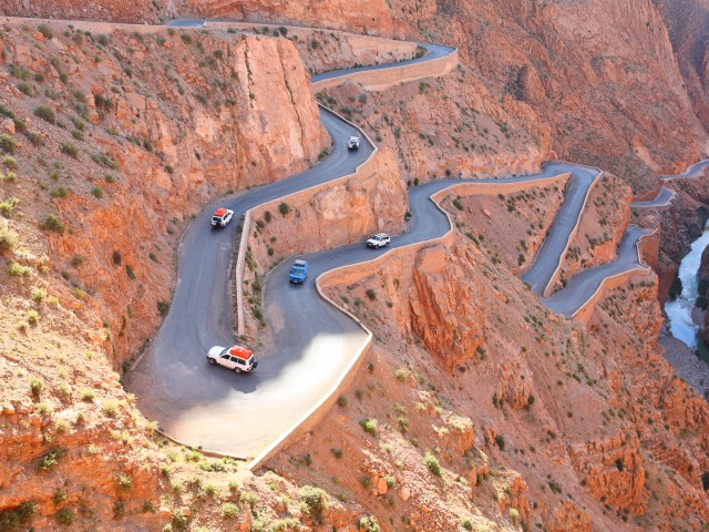 Winding road in Atlas Mountains