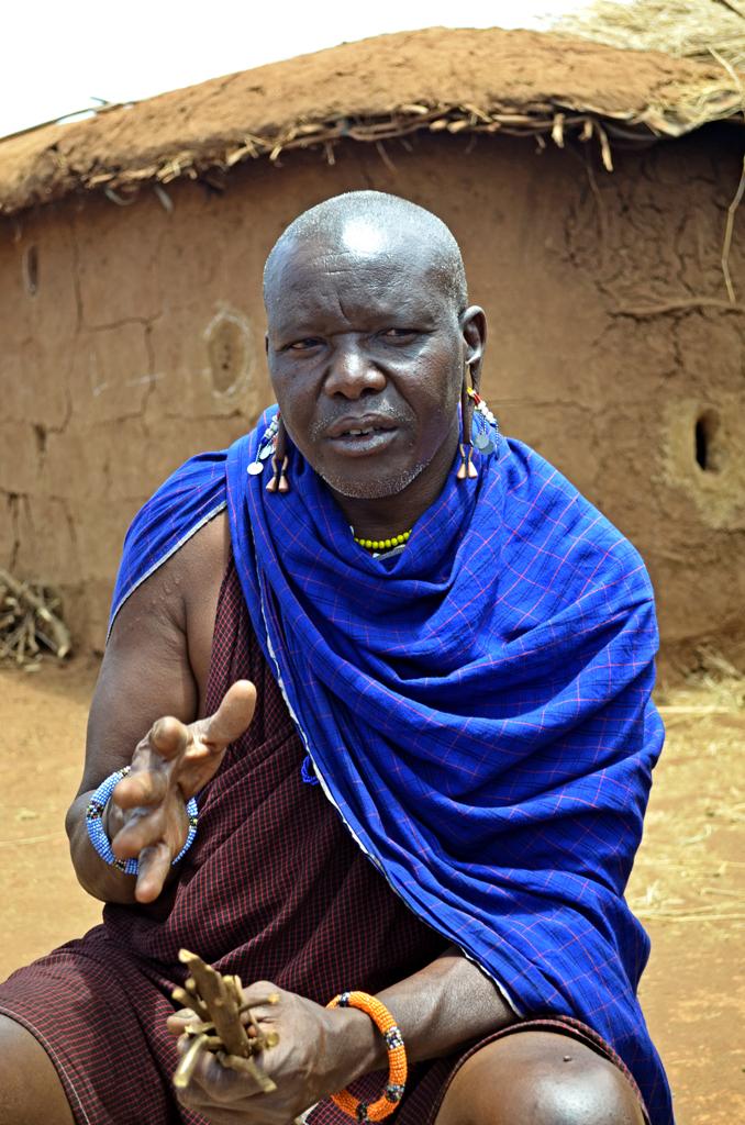Maasai doctor explaining herbal medicines