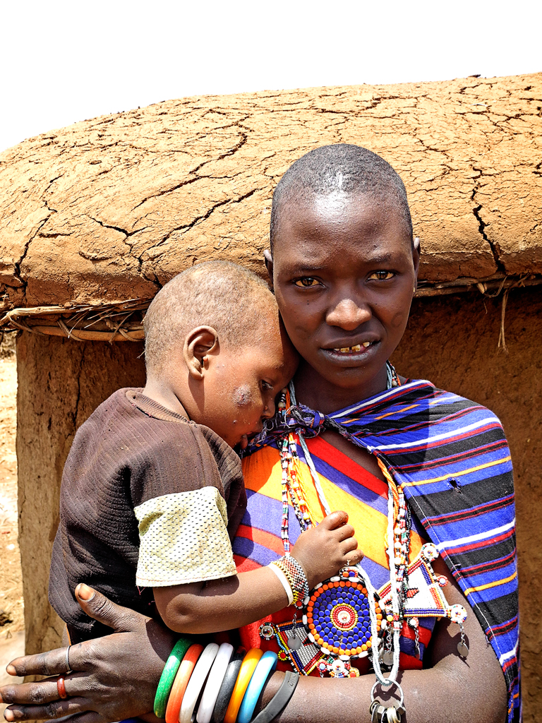 Maasai woman with her baby