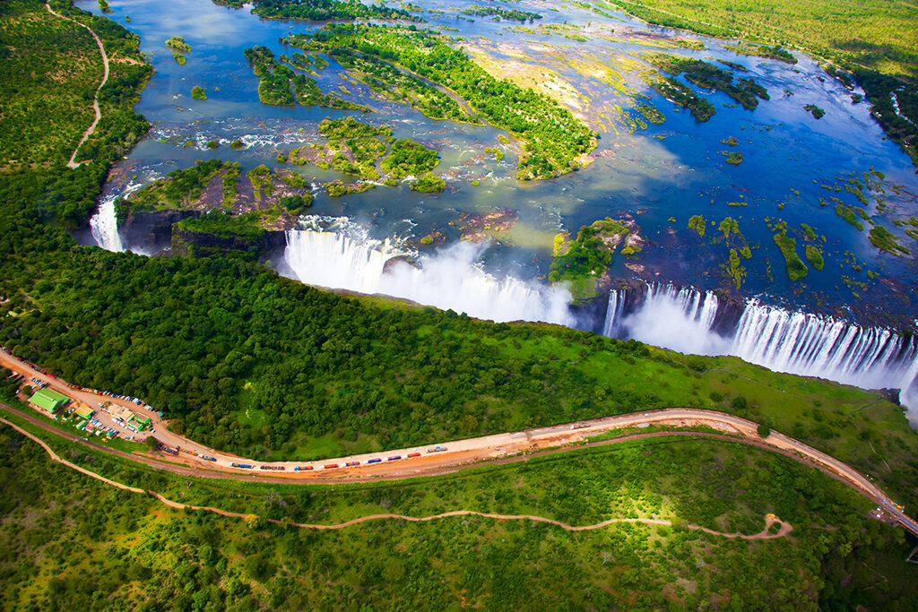 Victoria Falls aerial side view